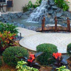 garden landscaping with waterfall