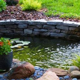 water feature with landscaping around it