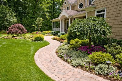 landscaping with windy walkway